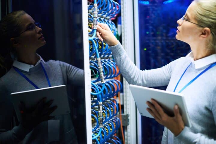 Woman Checking Server Network