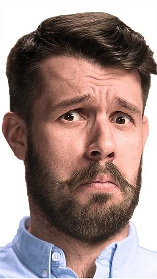Cara de un hombre con dudas acerca del por qué tener una página web